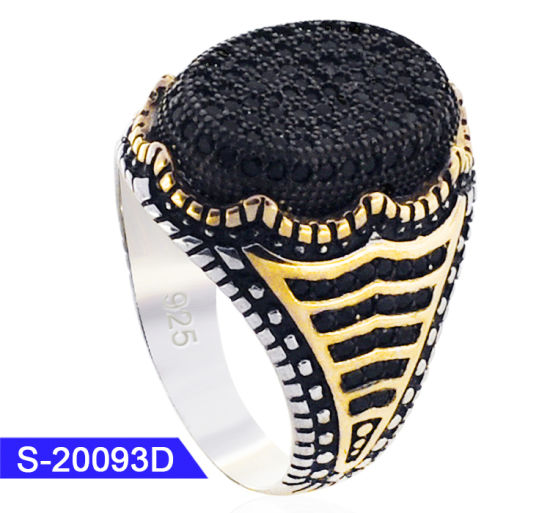 Wholesale New Arrival Fashion Jewelry 925 Sterling Silver Black CZ Stone Men Rings pictures & photos
