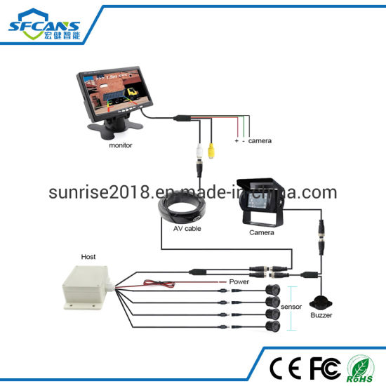 24V Voltage Wired Truck Parking Sensor with 7inch Display and 4 PCS Reversing Digital Sensors
