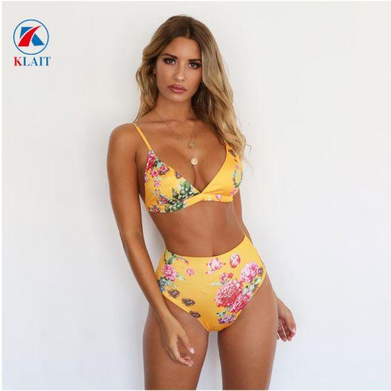 Amazon Hot Mature High Leg High Waist V Neck Underwear Fashion Bikini