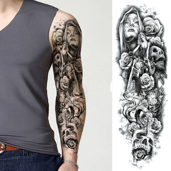 Mens Full Sleeve Arm Tattoo Stickers Temporary Long Lasting Different Patterns China Temporary Tattoo And Tattoo Sticker Price Made In China Com