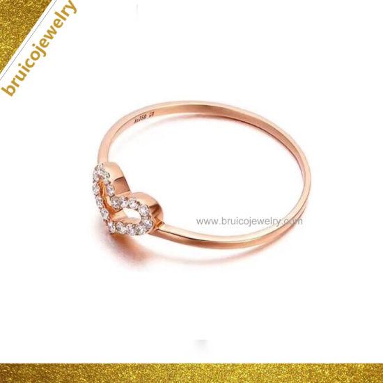 d0cc8e7b60fa2 Latest Heart Design Jewelry Luxury Bright Diamond Ring 18K Rose Gold  Jewellery