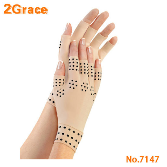 Magnetic Elastic Compression Gloves with Dots in Black for Supports Arthritis Joints Pain Relief