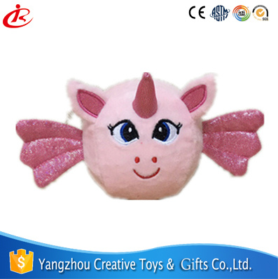 Pink Soft Velboa 9cm Sponge Ball Unicorn Plush Toy with Embroidery and Wings