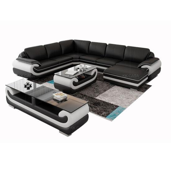 Modern Corner Sofa Design Leather American Furniture Black Sofa