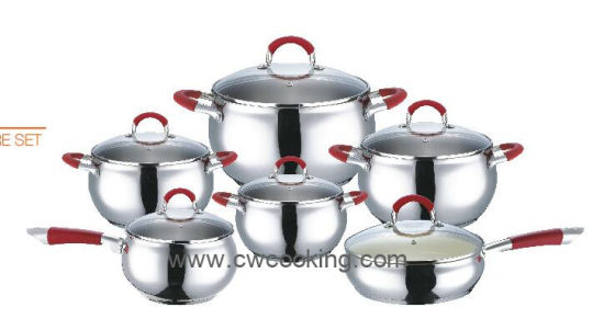 12PC Stainless Steel Cookware Set with Apple Body Shape