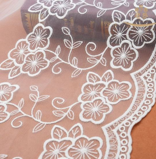 Custom Cheap 35cm Width New Style Polyester Mesh Lace pictures & photos