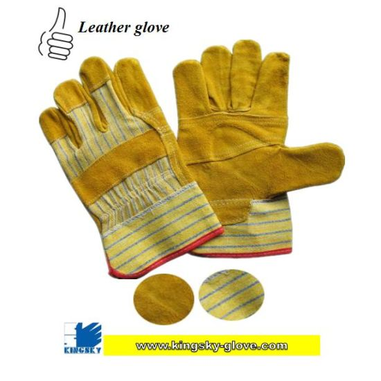 Golden Cow Split Leather Patched Palm Glove Cotton Back Leather Work Glove