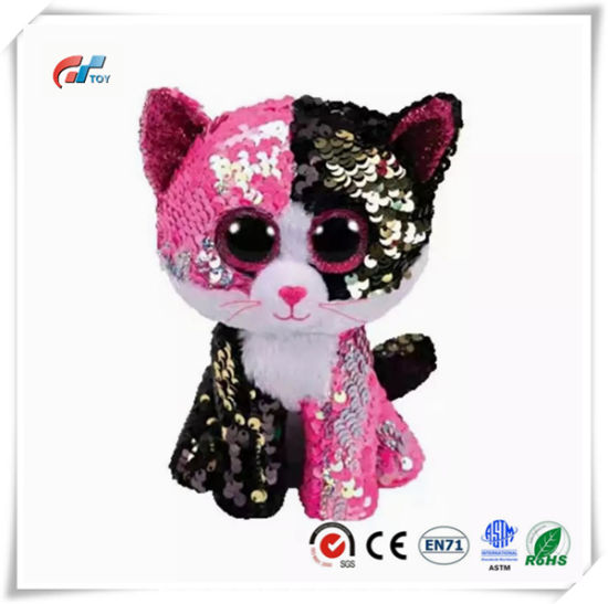 Cat Stuffed Animal Big Eyes Plush Toy with Sequins for Kids