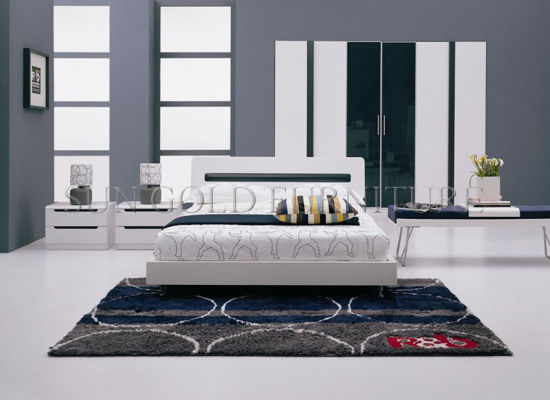 Modern Wooden Bedroom Furniture/High Gloss White Bed (SZ-BF029)