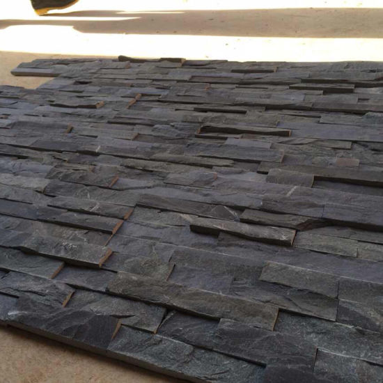 China Natural Black Slate Stacked Stone Wall Panels (SMC-SCP419 ...