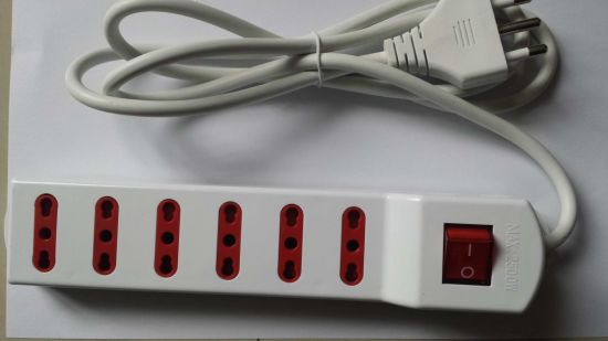6 Outlet 16A/250V Italy Power Strip Extension Socket with Switch pictures & photos