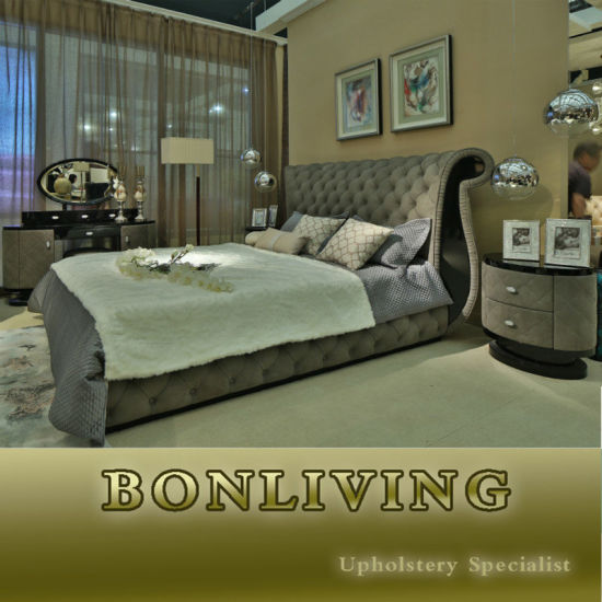 New Arrival Bedroom Set Bedroom Furniture Grey Leather Bed (B005)