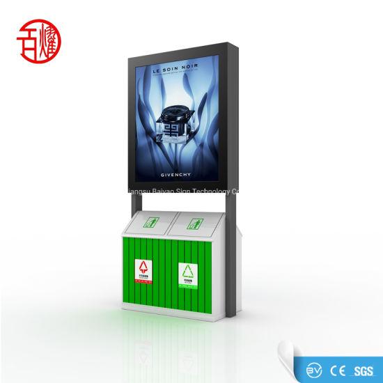 OEM ODM Advertising LED Scrolling Light Box with Trash Bin Garbage Can