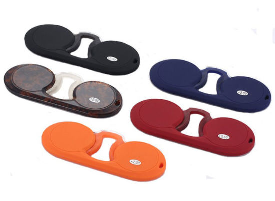 Round Shape Thin Wallet Pocket Reading Glasses Silicone Mini Reading Glasses Without Arms