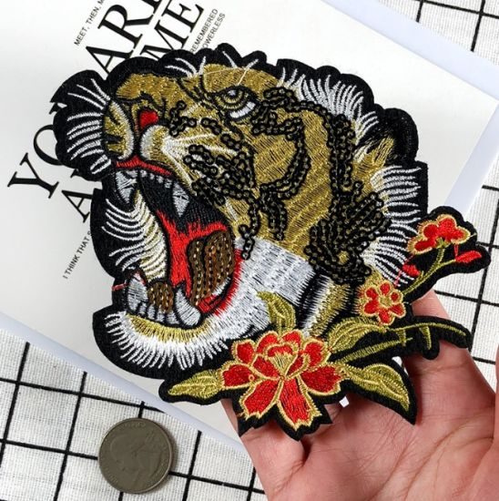 Top Quality Custom Lion Animal Shape Promotional Sequin Patch Embroidery Patches for Clothing (YB-SE-26)