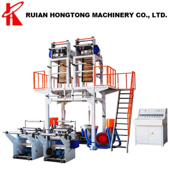 Single 1 Screw Double Dual 2 Die Head HDPE LDPE LLDPE Biodegradable Cornstarch PE Plastic Blown Film Blowing Extrusion Machine with 2 Winder