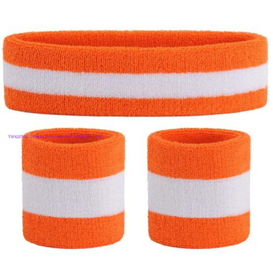 Custom Premium Running Embroidery Logo Lightweight Various Colors Extended Size Absorb Sweat No-Slip Twill Terry Cotton Towel Stripes Headband for Athletic