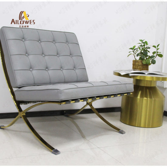 Hot Sale Living Room Furniture Grey Seat Polish Stainless Steel Leisure Barcelona Chair