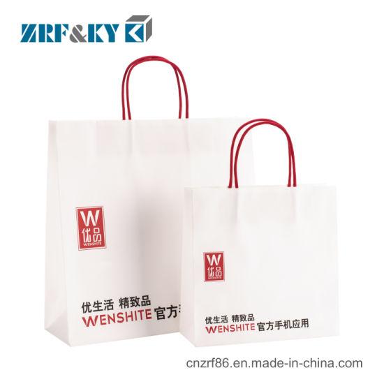 Custom Printed Logo Packaging Gift White Kraft Paper Apparel Bag