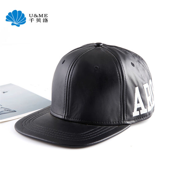 PU Leather 3D Embroidery Snapback Hip Hop Cap