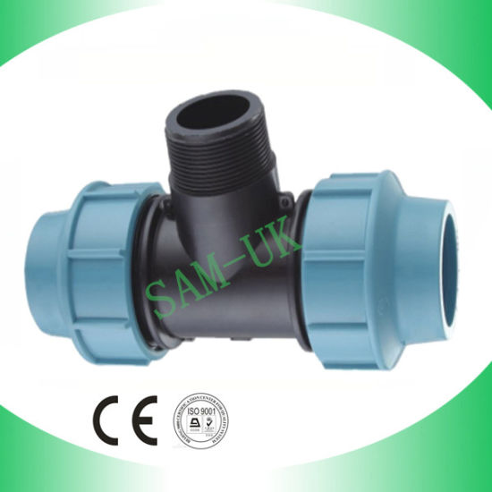 Plastic PP Compression Fitting-Male Tee pictures & photos