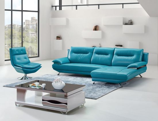 Outstanding Simple Leather Sectional Sofa In Light Blue Color L Al612 Ncnpc Chair Design For Home Ncnpcorg