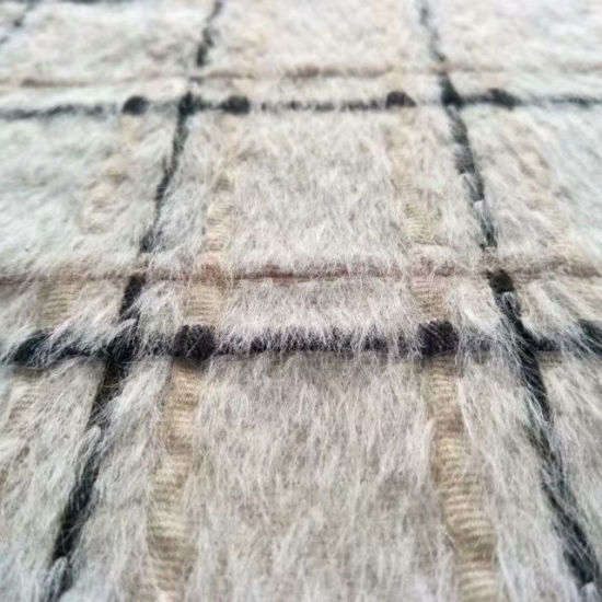 Fine Wool Checked Fabric with Alpaca for Winter Clothing Garment Fabric Textile Fabric