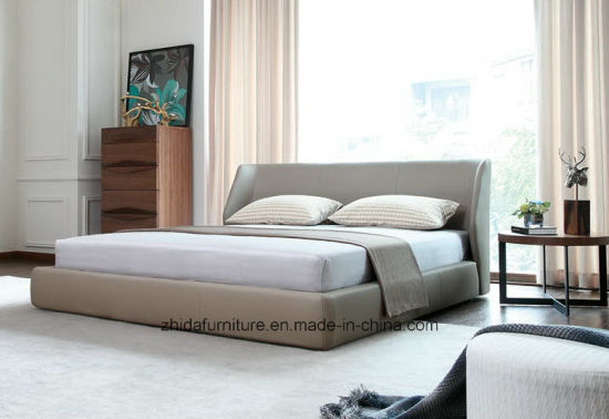 Modern Hotel Home Bedroom Furniture King Queen Leather Bed