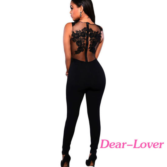 Fashion Black Mesh Lace Applique Jumpsuit pictures & photos