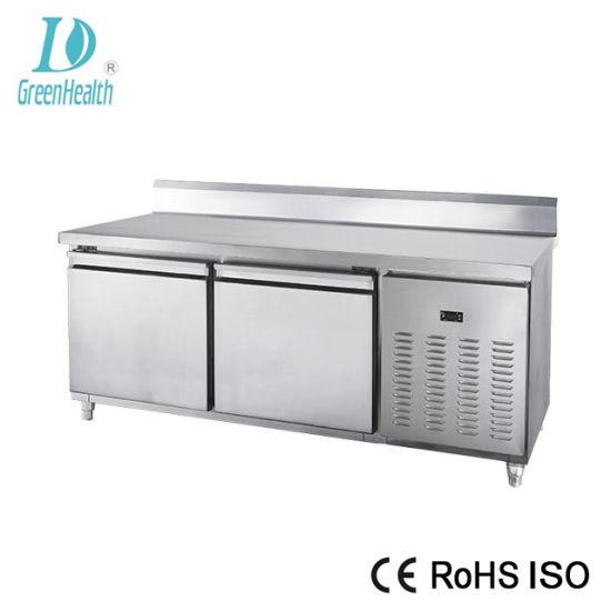 China Stainless Steel Glass Doors Workbench Kitchen Refrigerator