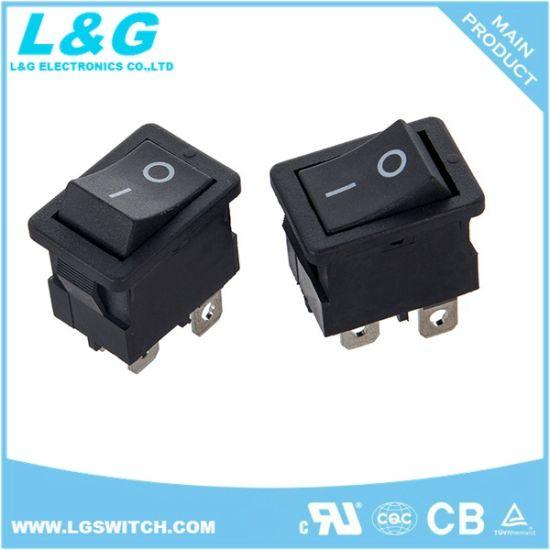 Powe 12A 250VAC Dpst 4 Pins Double Rocker Switch