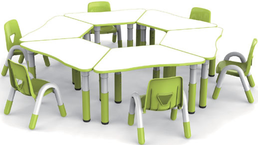 High Quality Kindergarten Stainless Steel Child Tables and Chairs