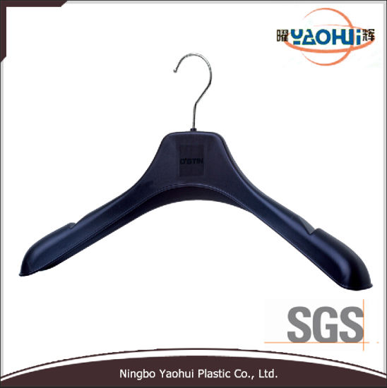 Fashion Black Plastic Jacket Hanger with Metal Hook (46cm)