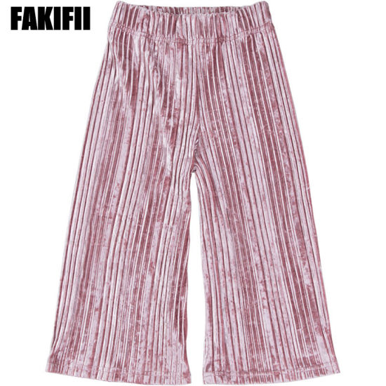 Wholesale Top Quality Fashion Clothing Woven Garment Autumn/Winter Girl Pleated Velvet Pants Spring Children Clothes