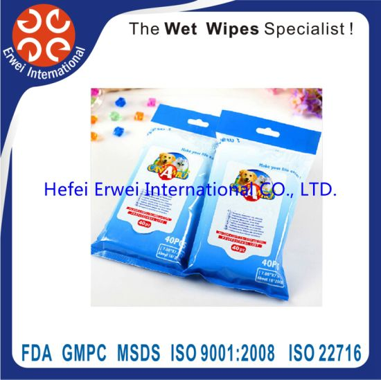 Disposable Pet Bathing Cleaning Wet Tissues Antibacterial Pet Wipes pictures & photos