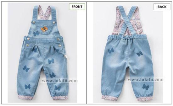 33f236715463 China ODM OEM Infant Wear Children Summer Girl Cotton Denim Jumpsuit ...