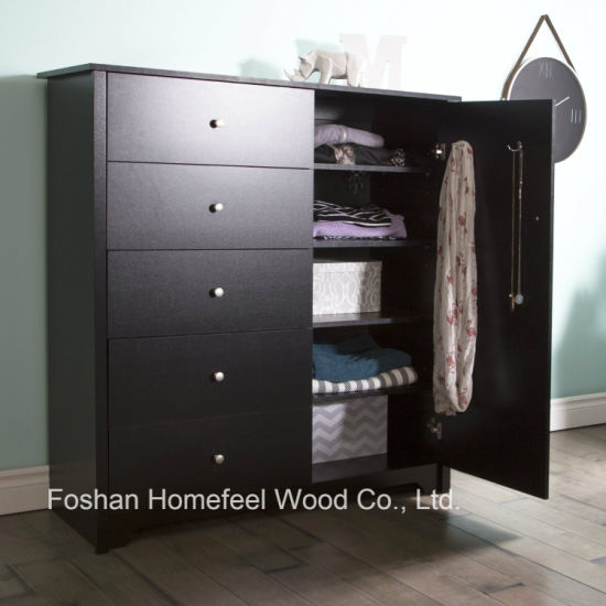 Amazing Bedroom Furniture 5 Drawer Wooden Dresser in Black