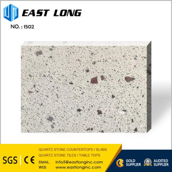 White Crystal Big Grain Quartz Stone Slabs for Hotel Bath Quartz Kitchen  Tops