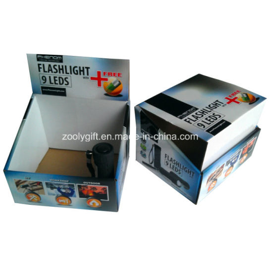 Customized Printing PDQ Corrugated Display Packing Box for Flashlight pictures & photos