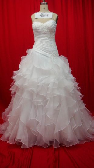 Ruffled Organza Strapless Ball Gowns Bridal Wedding Dresses (AL003) pictures & photos