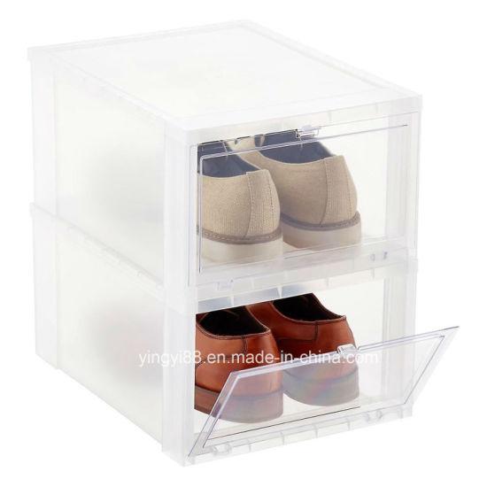 Clear Shoe Storage Boxes.Amazing Drop Front Stackable Clear Plastic Shoe Storage Box