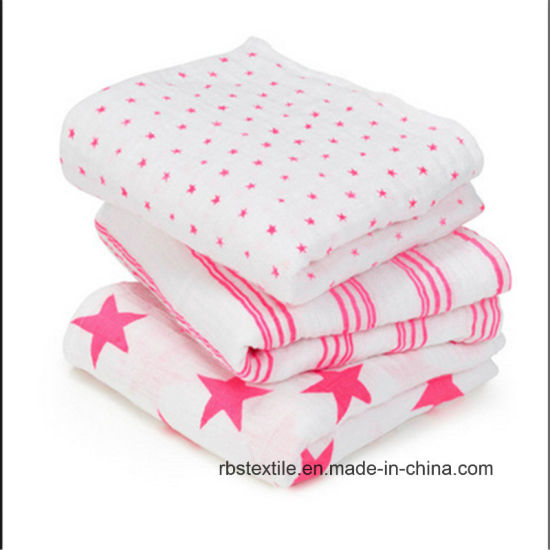 100% Cotton Baby Muslin Swaddle Blanket Set with High Quality pictures & photos