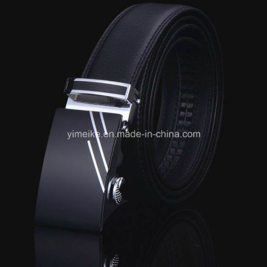 Factory Price 3.5cm Automatic Buckle Man Genuine Leather Ratchet Belts