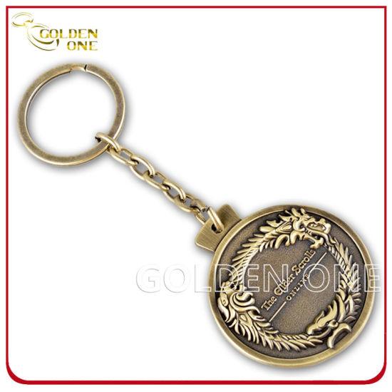 Custom Embossed Logo Antique Bronze Finish Metal Key Ring