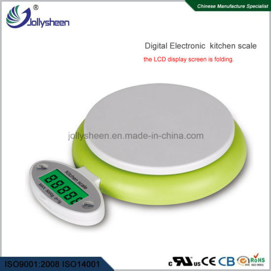 Factory Wholesales Digital Kitchen Scale with LCD Is Folded Into The Bottom of Housing High Presicion Sensors Weighing Range 5kg Max Ce, RoHS, FCC Approved