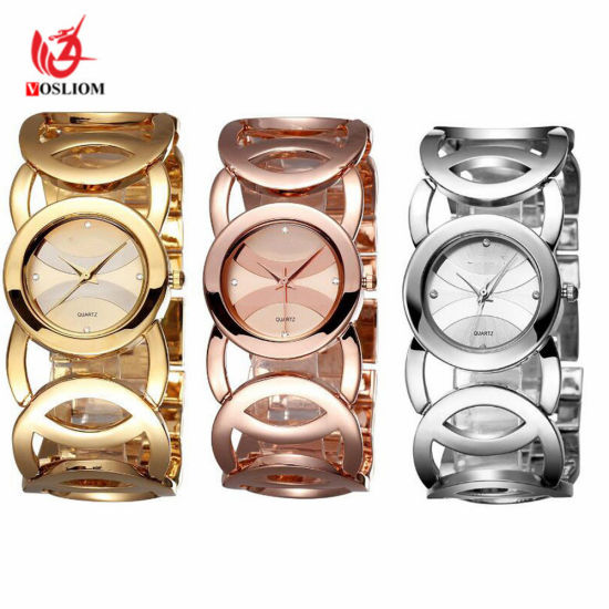 Bracelet Crystal Charms Hollow Hand Chain Analog Quartz Wrist Watch #V357 pictures & photos