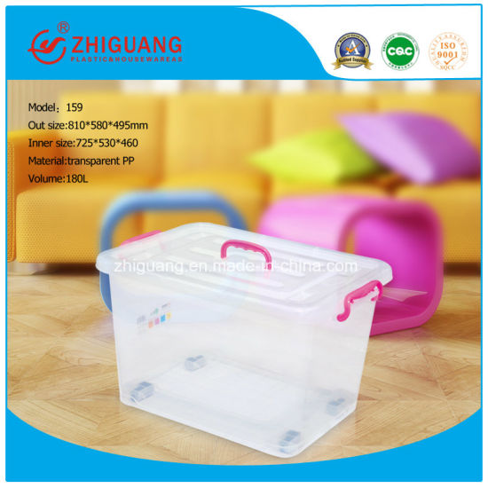 Big Capacity 150L Colorful Plastic Storage Container Box Transparent Plastic Storage Container with Wheels