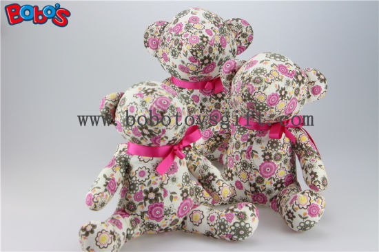 Flower Printing Fabric Fashion Design Stuffed Teddy Bear as Anniversary Gifts pictures & photos