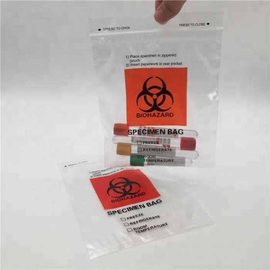 Wholesale Printed Customized Biohazard Zip-Lock Bag Medical Specimen Bag