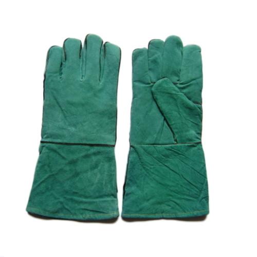 Green Work Cow Split Welding Gloves Leather